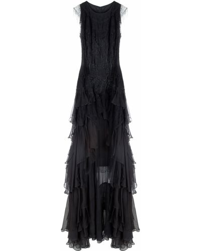 Шелковое черное платье со шлейфом Jay Ahr