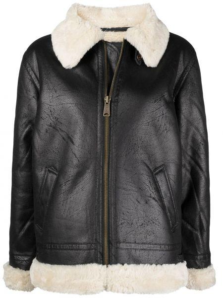 С рукавами черная куртка из овчины Alpha Industries