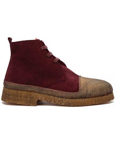 Красные кожаные ботинки на шнуровке Rocco P.