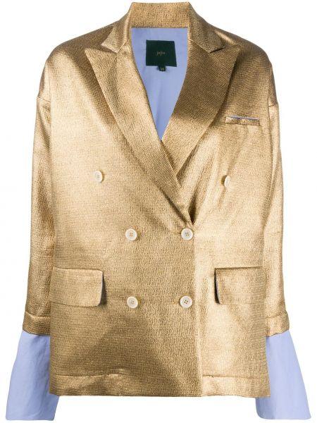 Желтый удлиненный пиджак двубортный из вискозы Jejia