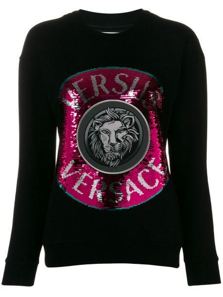 Черный свитер с пайетками с круглым вырезом с поясом Versus