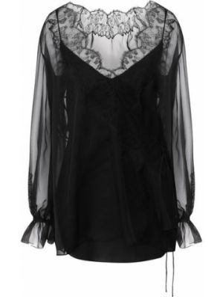 Блузка прозрачная с декольте Valentino
