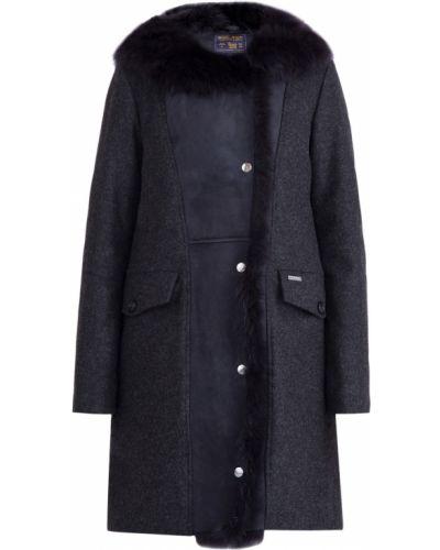 Пальто классическое кожаное шерстяное Woolrich