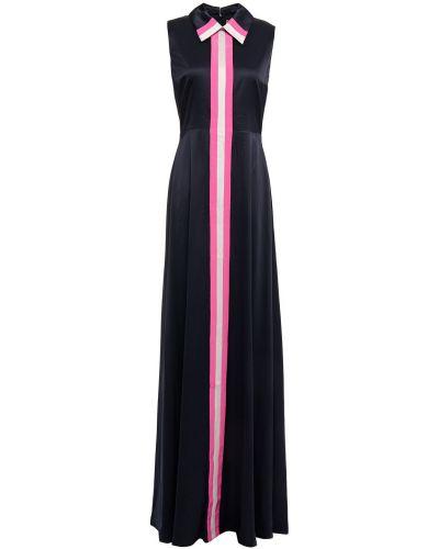 Niebieska satynowa sukienka długa w paski Roksanda