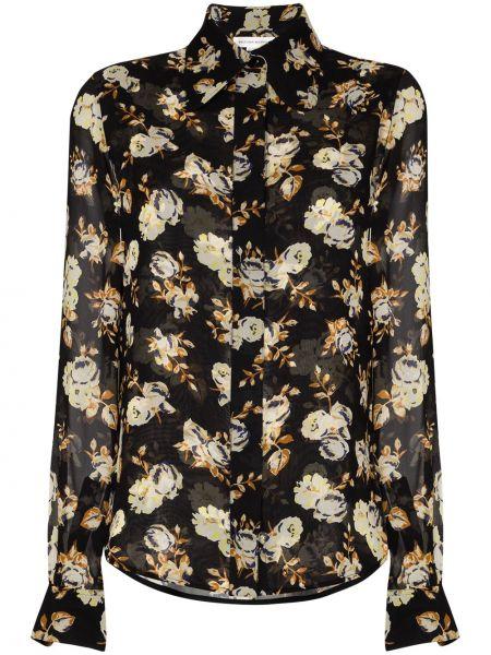 Черная классическая рубашка с воротником с манжетами на пуговицах Victoria Beckham