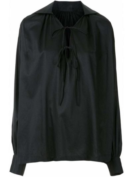 Черная блузка с длинным рукавом свободного кроя узкого кроя с завязками Reinaldo Lourenço