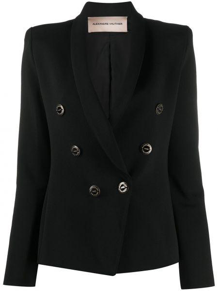 Черный пиджак двубортный на пуговицах Alexandre Vauthier