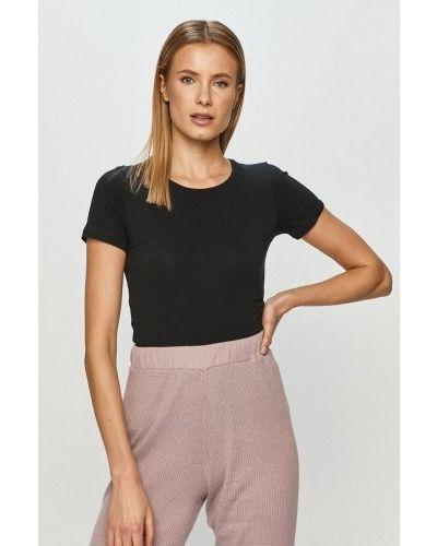 Черная футболка короткая Rossli