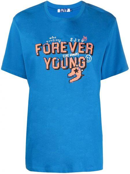 Niebieski t-shirt bawełniany krótki rękaw Sjyp