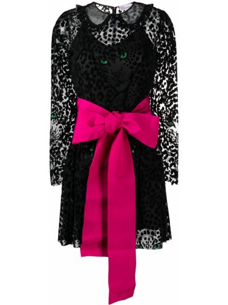 Czarna sukienka mini z wiskozy z printem Redvalentino