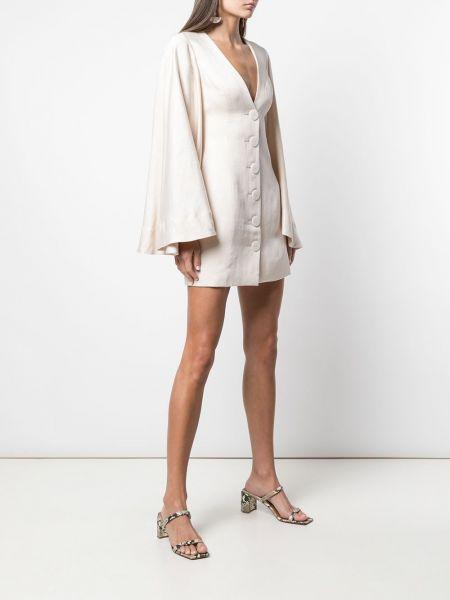 Ватное льняное приталенное платье мини с длинными рукавами Shona Joy