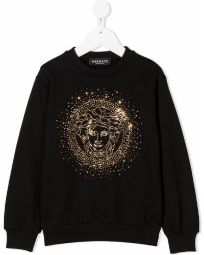 Złota czarna bluza z długimi rękawami Young Versace