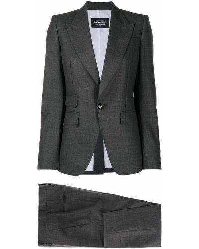 Ciemno szary kostium garnitur z klapami z kieszeniami Dsquared2