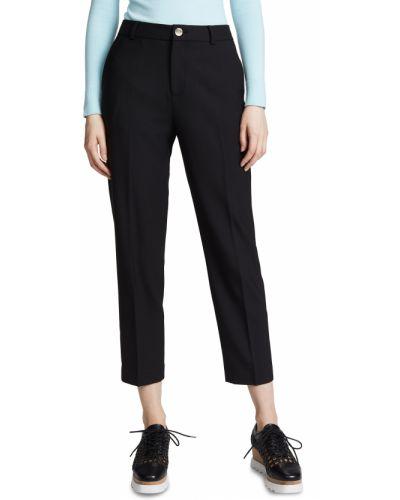 Прямые шерстяные черные укороченные брюки Club Monaco