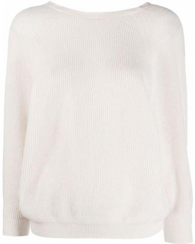 Кашемировый белый джемпер с длинными рукавами Ba&sh