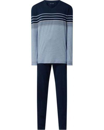 Spodni piżama bawełniana z długimi rękawami w paski Schiesser
