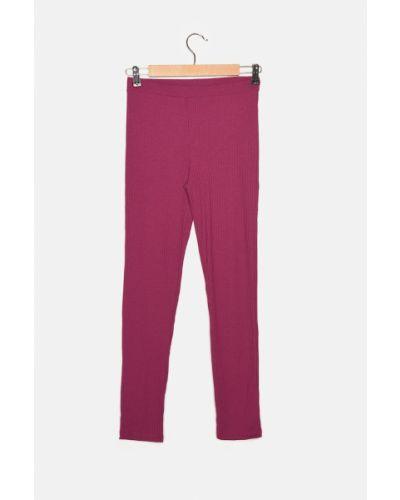 Fioletowe spodnie prążkowane Trendyol