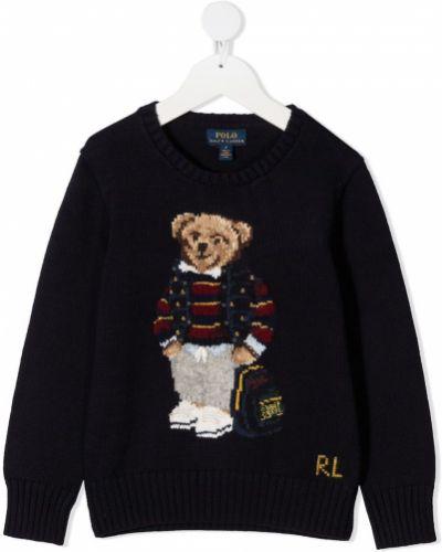 Хлопковый темно-синий джемпер с длинными рукавами Ralph Lauren Kids