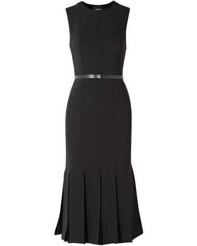 Czarna sukienka midi skórzana z paskiem Akris