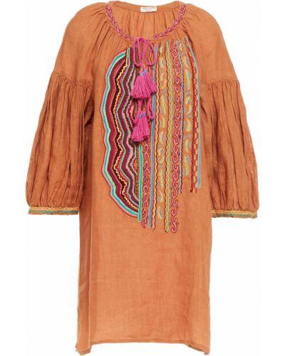 Льняное оранжевое платье мини с вышивкой Anjuna