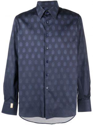 Niebieska klasyczna koszula bawełniana z długimi rękawami Billionaire