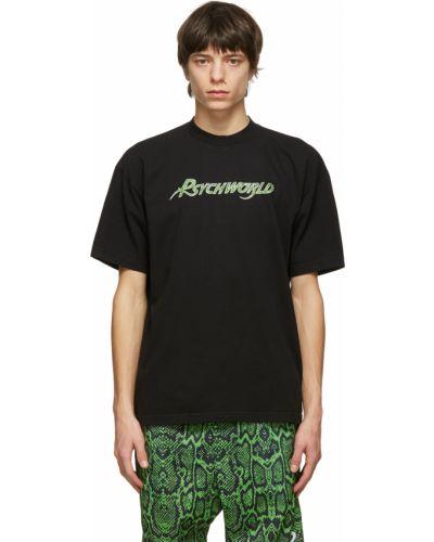 Czarny t-shirt krótki rękaw bawełniany Psychworld