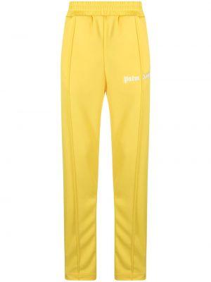 Żółty spodnie w paski z boku z paskami z kieszeniami Palm Angels