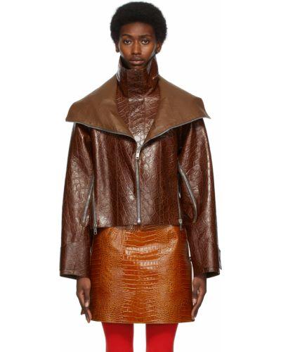 Kurtka skórzana - brązowa Givenchy