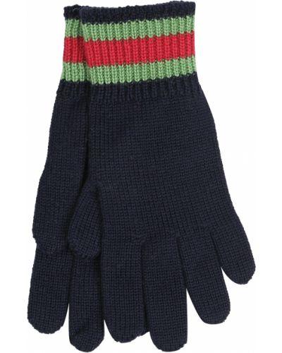 Синие шерстяные перчатки Gucci