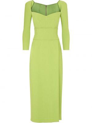 Зеленое платье миди с длинными рукавами с вырезом Dolce & Gabbana