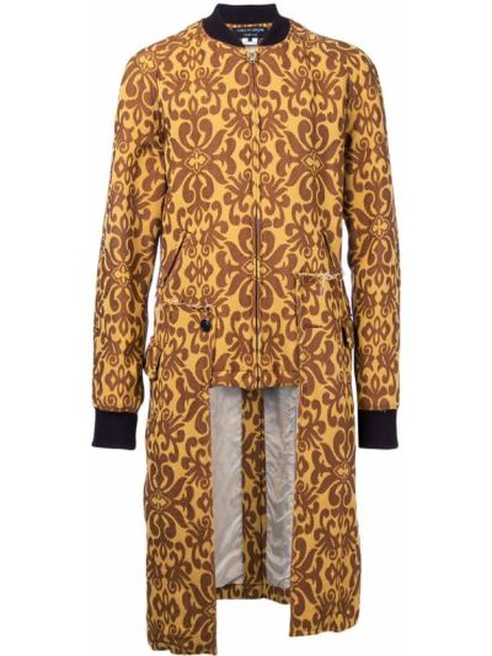 Желтое шерстяное длинное пальто с воротником на молнии Comme Des Garçons Pre-owned
