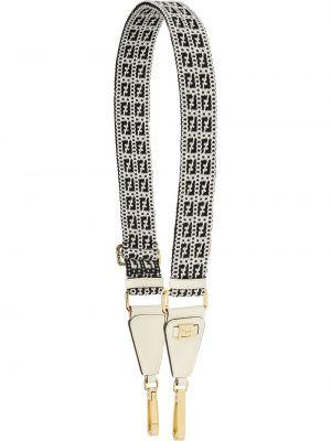 Czarna torebka skórzana z haftem Fendi