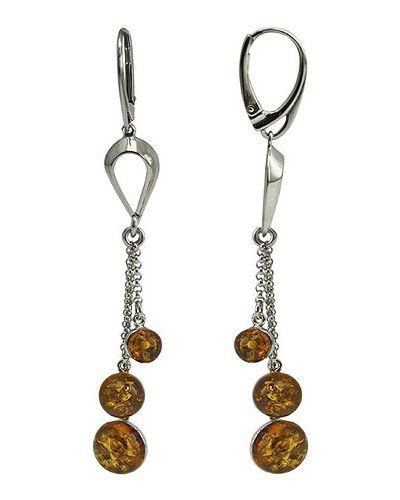 Серебряные серьги с янтарем Liza Geld