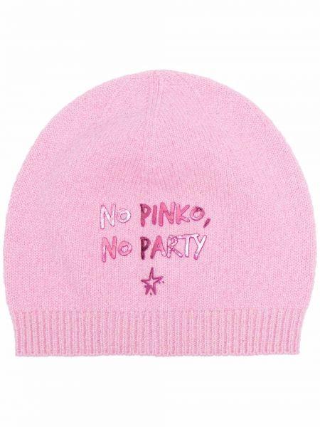 Czapka beanie - różowa Pinko