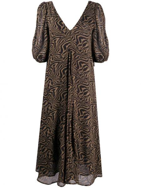 Платье миди с V-образным вырезом с абстрактным принтом Ganni