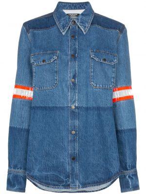 Niebieska koszula jeansowa bawełniana z długimi rękawami Calvin Klein 205w39nyc