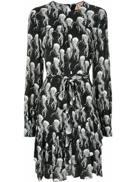 Черное платье на пуговицах со вставками с вырезом N21