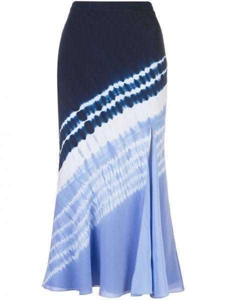 Шелковая синяя с завышенной талией юбка миди с разрезом Altuzarra