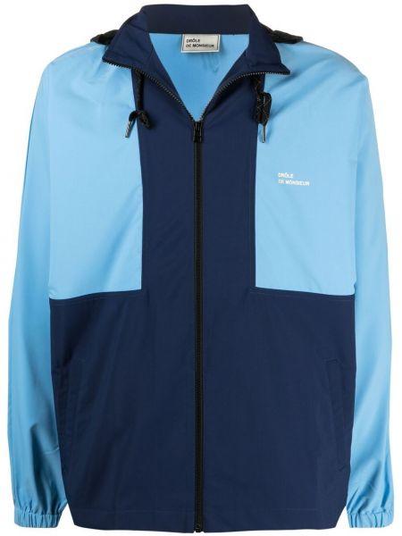 Niebieska długa kurtka z kapturem z długimi rękawami Drole De Monsieur
