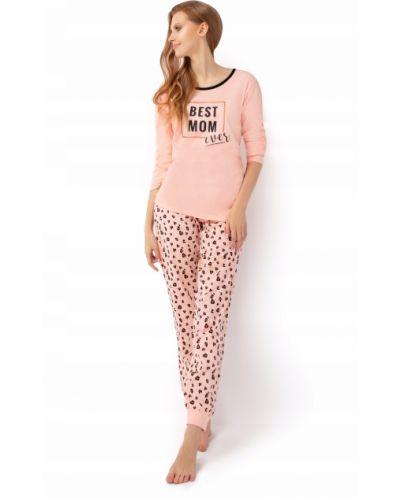 Różowa piżama bawełniana z długimi rękawami Envie