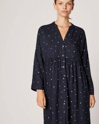 Платье осеннее синее Oysho