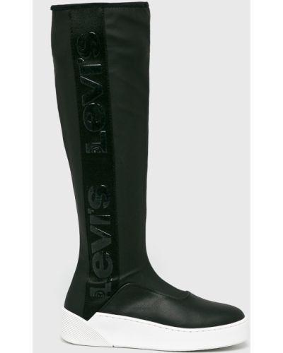 Черные текстильные сапоги на танкетке на каблуке Levi's®