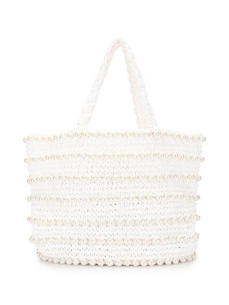 Пляжная белая соломенная пляжная сумка круглая 0711