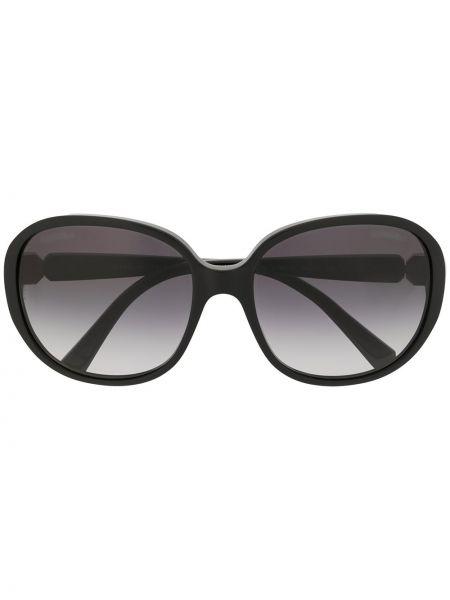 Муслиновые черные солнцезащитные очки круглые Chanel Pre-owned