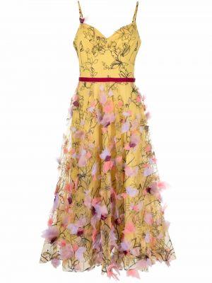 Платье из фатина - желтое Marchesa