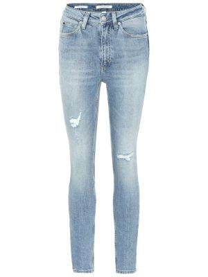 Niebieski zawężony bawełna bawełna obcisłe dżinsy Calvin Klein Jeans