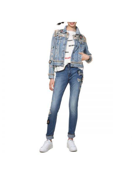 Джинсовая куртка с рисунком куртка-жакет Desigual