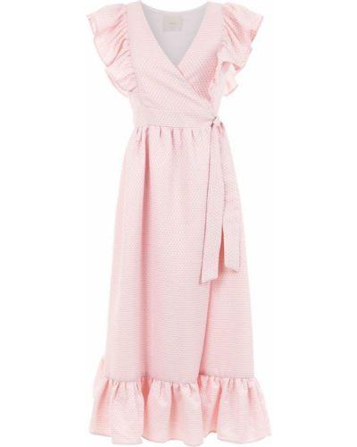 Платье миди розовое на шнуровке Framed