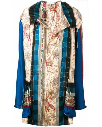 Синее пальто с капюшоном на пуговицах Pierre-louis Mascia