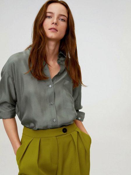 Блузка с длинным рукавом зеленый весенний Mango